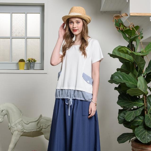 【CUMAR】圓領異素材拼接綁帶-女短袖上衣(三色/魅力商品/版型適中)