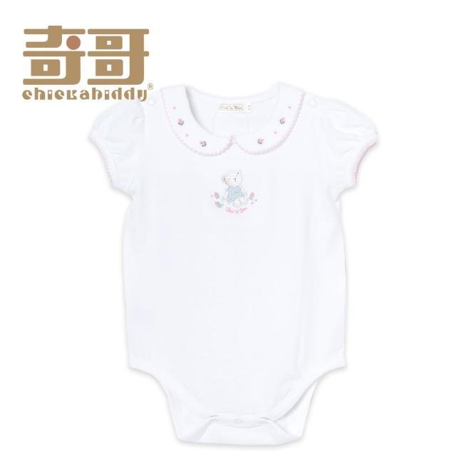 【奇哥】開心寶貝小熊小花連身衣-白(2-3歲)