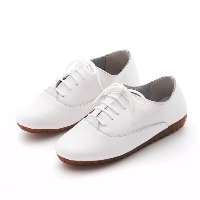 【G.Ms.】G.Ms. 牛皮簡約素面綁帶休閒便鞋P款(白色)