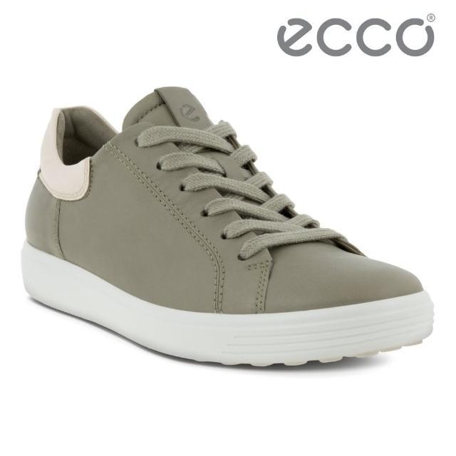 【ecco】SOFT 7 W 單色撞色設計輕便休閒鞋 女鞋(草綠色/石灰色 47009360079)