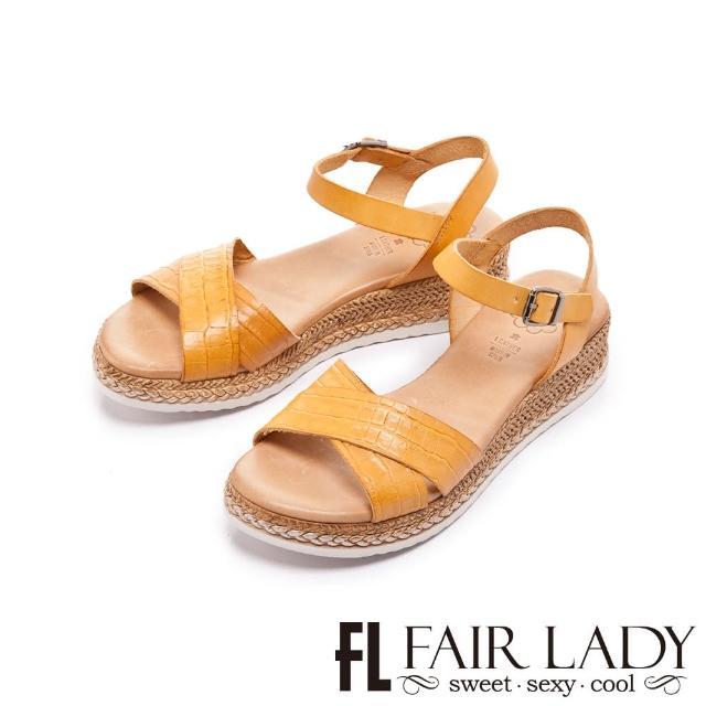 【FAIR LADY】盛夏 PORRONET 植鞣皮革交叉線條麻編底涼鞋(土黃、222374)