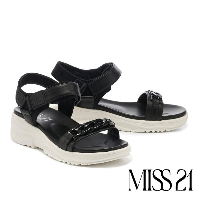 【MISS 21】率性休閒異材質金屬粗鏈魔鬼氈厚底涼鞋(黑)