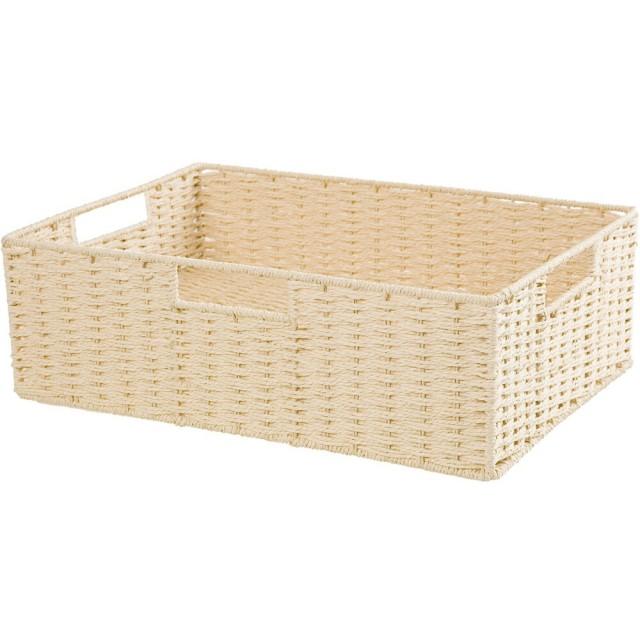 【NITORI 宜得利家居】編織收納籃 LAIRA3 橫式半格型 NA(收納籃 收納盒 整理盒)