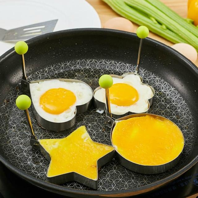 【PUSH!】加厚不銹鋼模具型煎蛋器愛心煎蛋器4件套(E49)