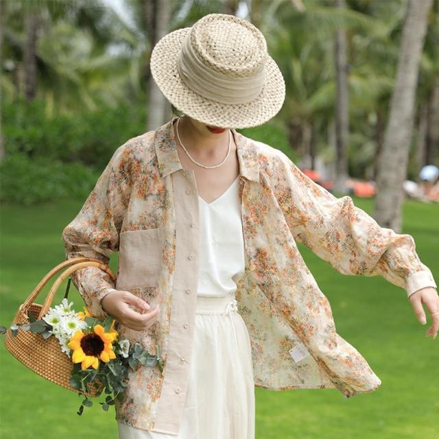 【設計所在】高支精細純苧麻復古印花防曬襯衫輕薄上衣 S210127(S-L可選)