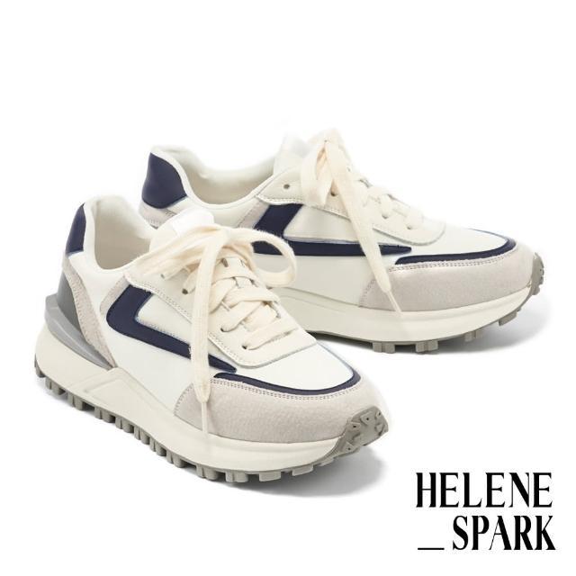 【HELENE SPARK】時髦復古異材質拼接綁帶厚底休閒鞋(藍)