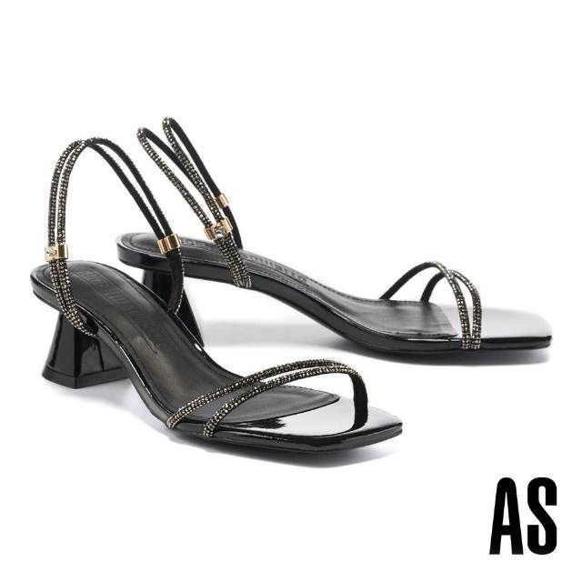 【AS 集團】高雅別緻閃耀晶鑽兩穿式繫帶方頭高跟涼鞋(黑)