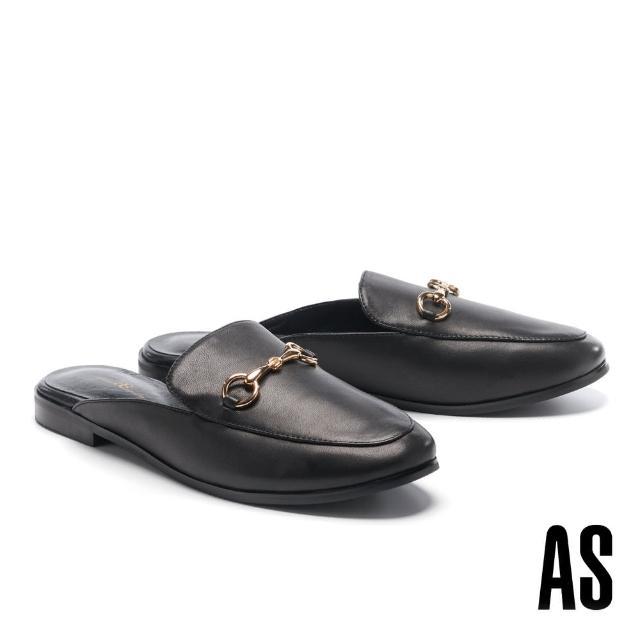 【AS 集團】復刻經典時尚馬銜釦羊皮低跟穆勒拖鞋(黑)