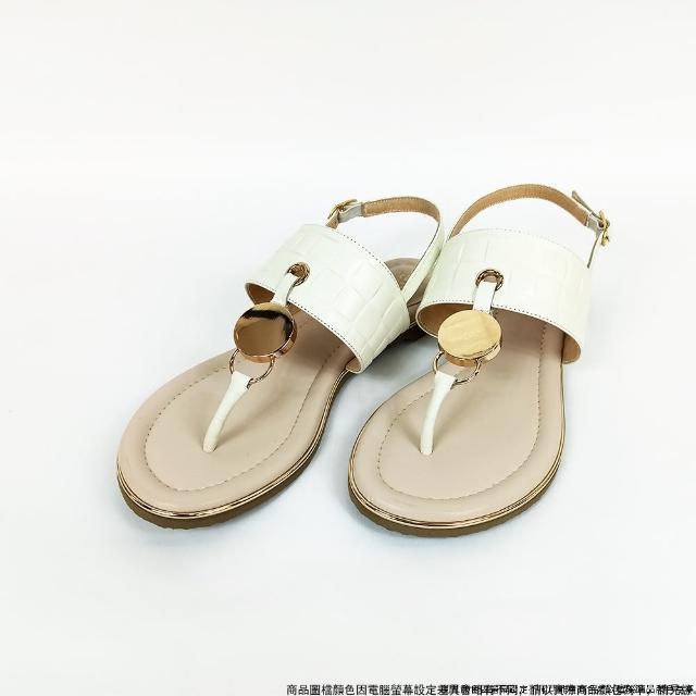 【DeSire】波希米亞風金屬飾扣T字涼鞋-白色(1137102-90)