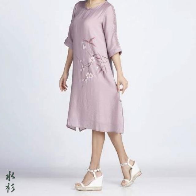 【水衫】絲綢感手繪七分袖洋裝三件組(J03-01)