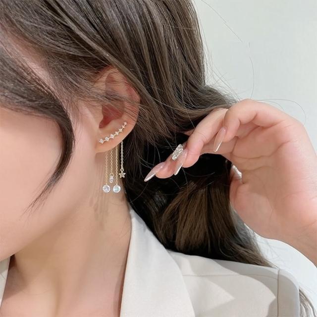 【Emi 艾迷】韓系星潮灑落鋯石925銀針耳環