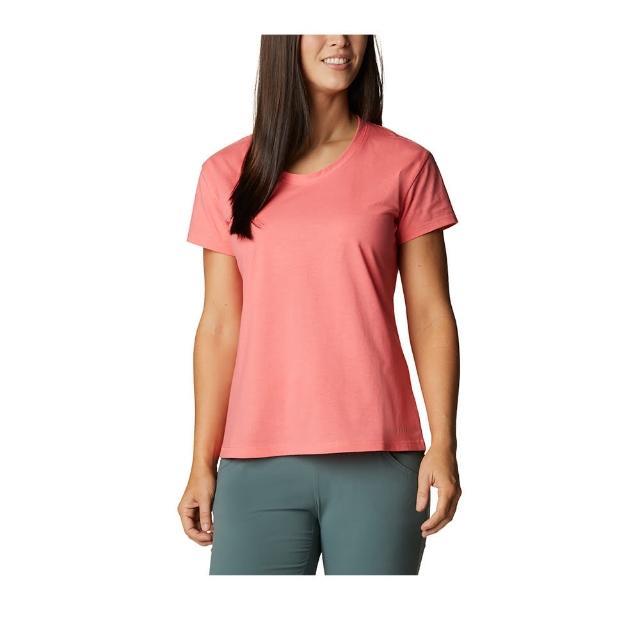 【Columbia 哥倫比亞】女款- UPF50快排短袖上衣-粉紅(UAL29680PK / 快排.運動.戶外)