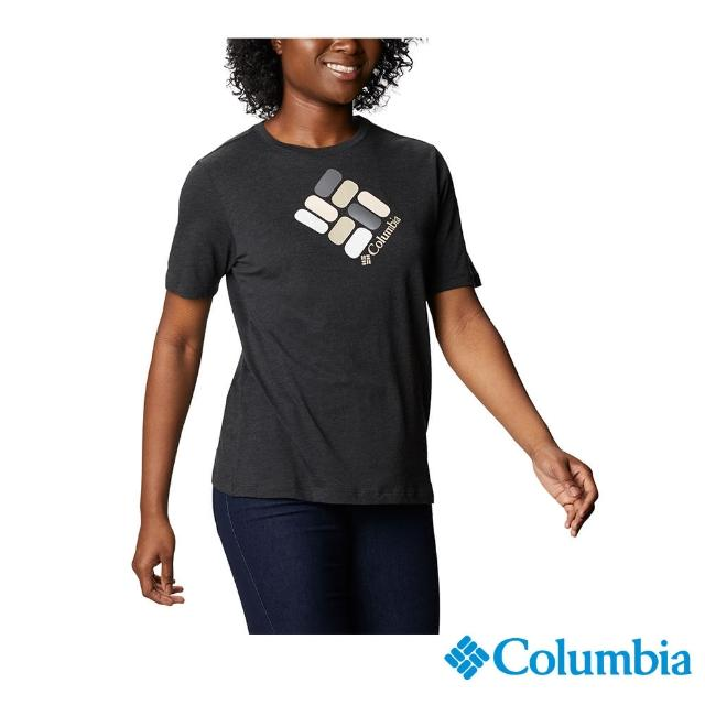 【Columbia 哥倫比亞】女款- LOGO短袖上衣-黑色(UAR31200BK / 舒適.運動.戶外)