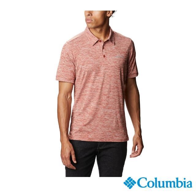 【Columbia 哥倫比亞】男款-快排短袖Polo衫-橘紅(UXO08730AH / 休閒.快排.舒適)