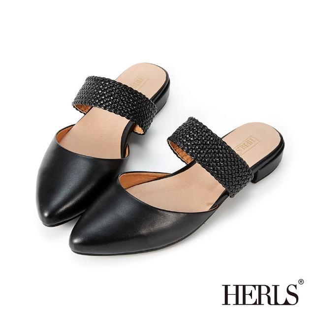 【HERLS】穆勒鞋-編織橫帶鏤空尖頭低跟穆勒鞋拖鞋(黑色)