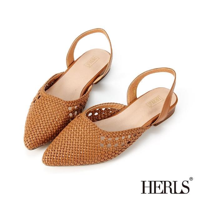 【HERLS】涼鞋-鏤空編織側V尖頭後帶低跟鞋涼鞋(棕色)