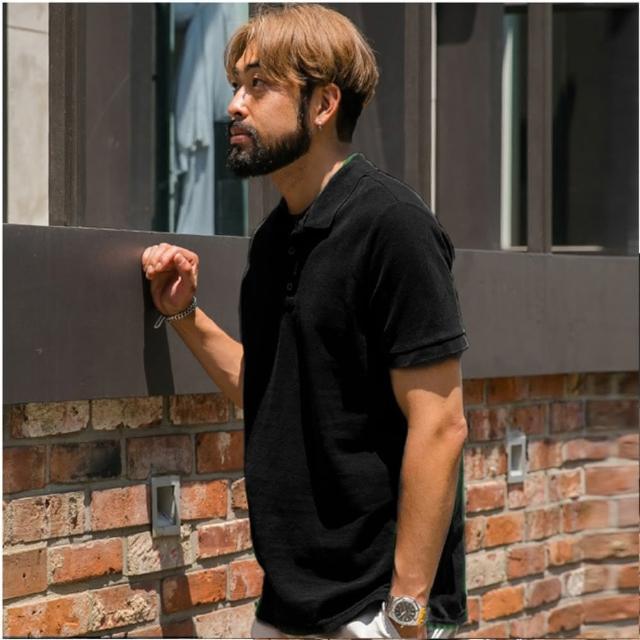 【男人幫Elite 大尺碼】黑色素面純棉POLO衫(85-120公斤XL-5L夏季短袖美系)