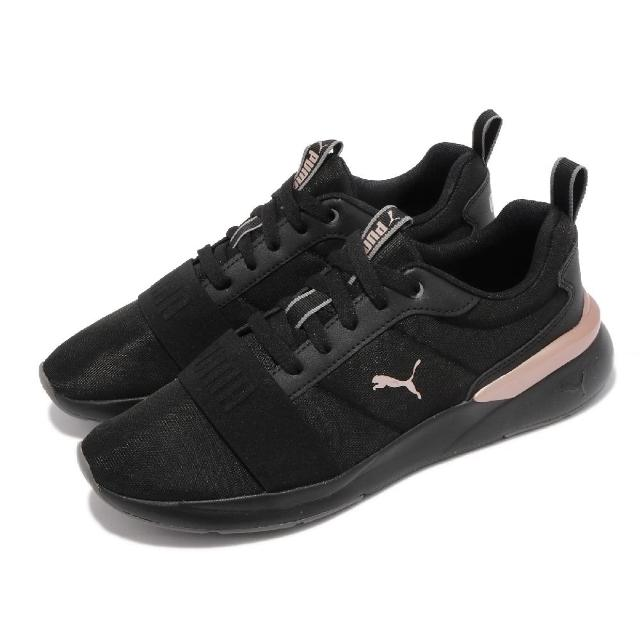 【PUMA】訓練鞋 Rose Plus 低筒 女鞋 健身 重訓 多功能訓練鞋 透氣 黑 金(37489701)