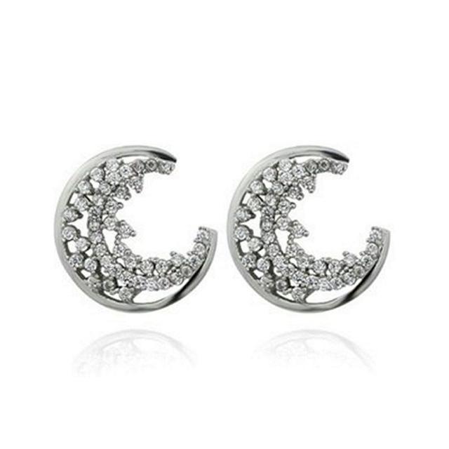 【米蘭精品】925純銀耳環鑲鑽耳飾(簡潔亮眼月亮造型情人節生日禮物女飾品73dm54)