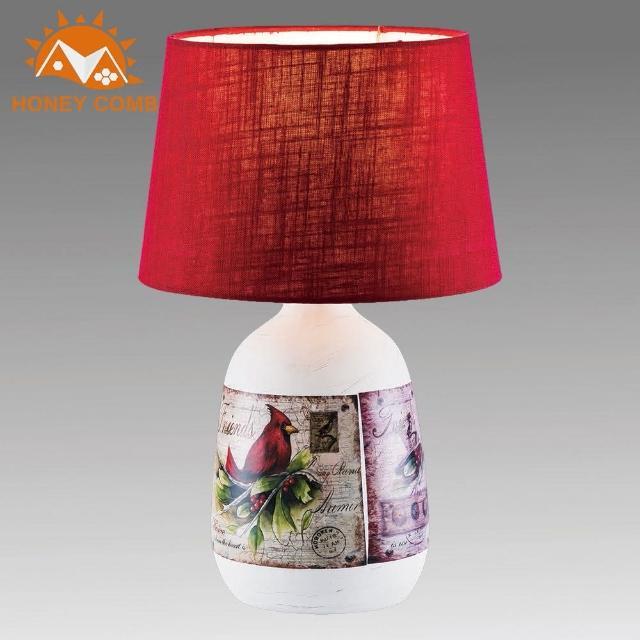 【Honey Comb】復古郵票彩繪花瓶造型檯燈(BL-31895)