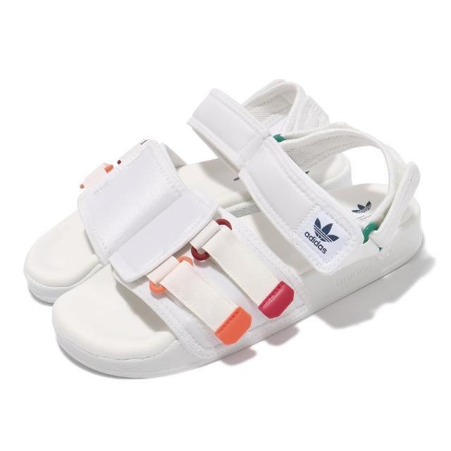 【adidas 愛迪達】涼鞋 Adilette Sandal 4.0 男女鞋 愛迪達 夏日 輕便 魔鬼氈 情侶款 白 紅(GZ8828)