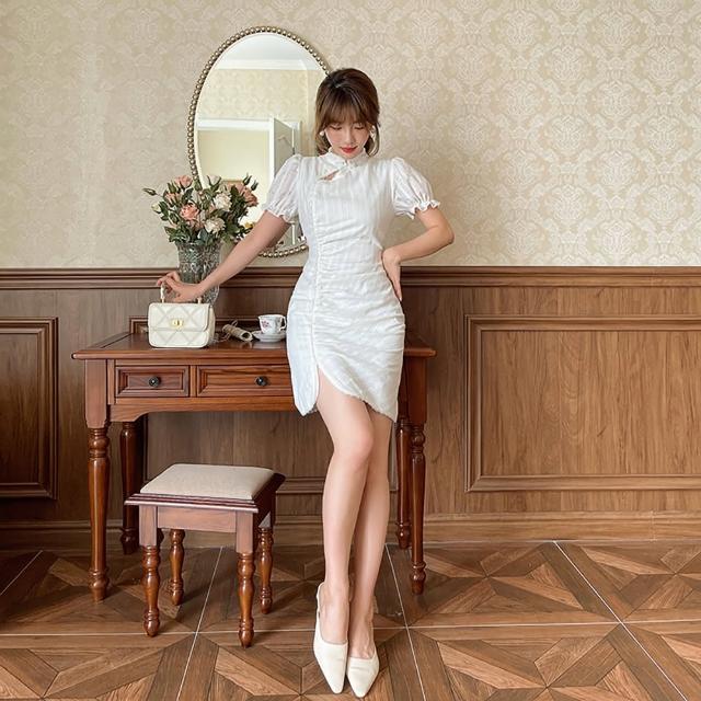【女神婚紗禮服店】白色復古立領短袖改良式旗袍洋裝 提貨券(白色洋裝 改良式旗袍)