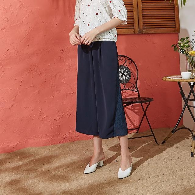 【CUMAR】高腰荷葉裝飾寬版-女長褲(二色/版型適中)