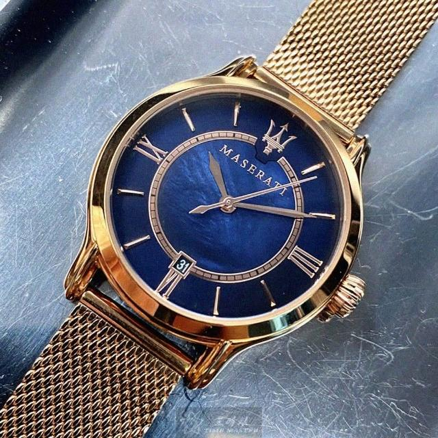 【MASERATI 瑪莎拉蒂】瑪莎拉蒂女錶型號R8853118503(寶藍色錶面玫瑰金錶殼玫瑰金色米蘭錶帶款)