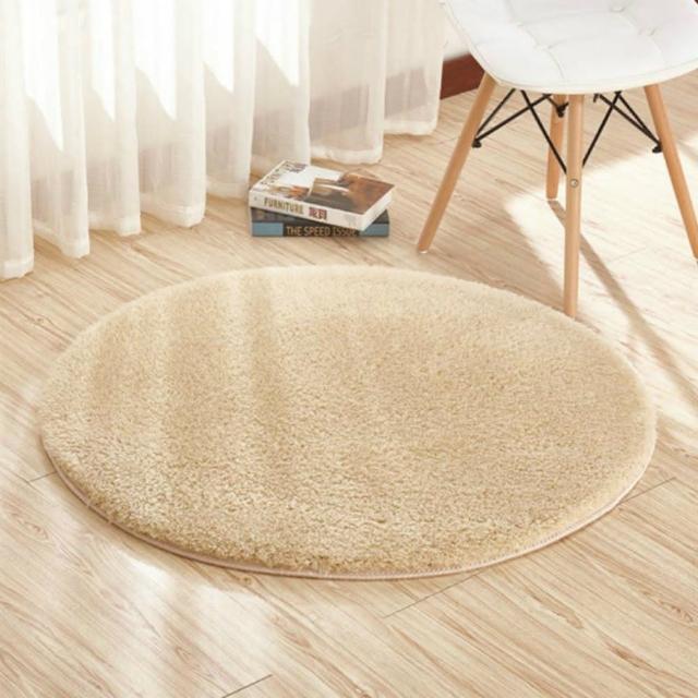 【JEN】羊羔絨圓形地毯地墊80cm駝色