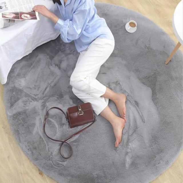 【JEN】北歐風仿兔毛加厚地墊地毯圓形90cm銀灰色