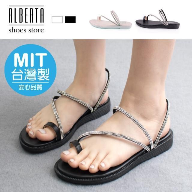 【Alberta】MIT台灣製 2.5cm涼鞋 休閒百搭細帶水鑽 皮革平底圓頭套指兩穿涼拖鞋