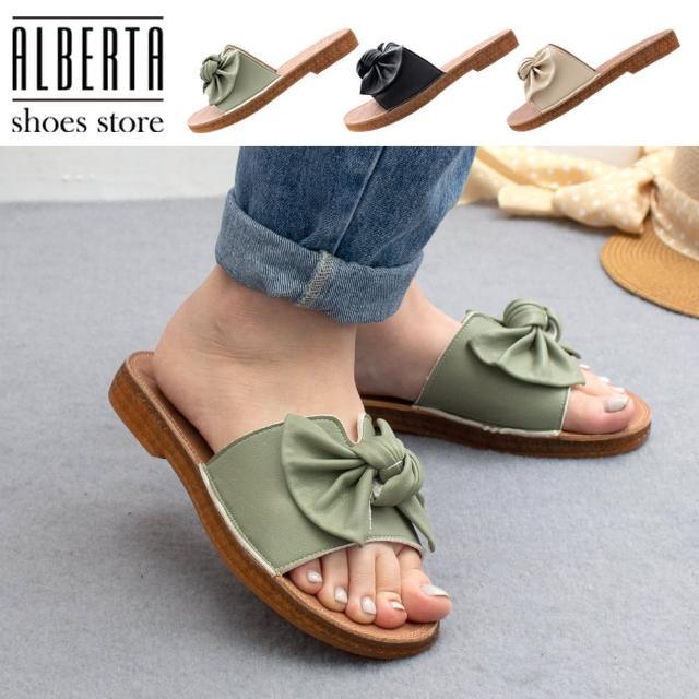 【Alberta】2.5cm涼鞋 軟Q牛筋鞋底 優雅氣質蝴蝶結 皮革平底圓頭涼拖鞋
