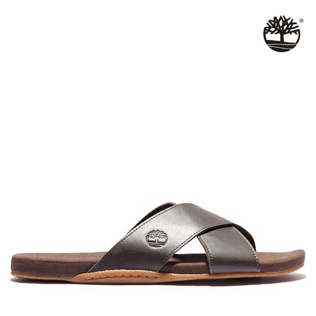 【Timberland】男款深咖啡寬版皮革交叉涼鞋(A242D200)