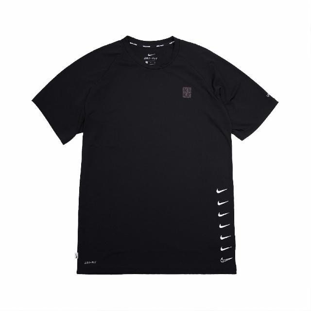 【NIKE 耐吉】T恤 Multi Swoosh Top 圓領 男款 防曬 運動休閒 基本款 穿搭推薦 黑 白(NESSB653-001)