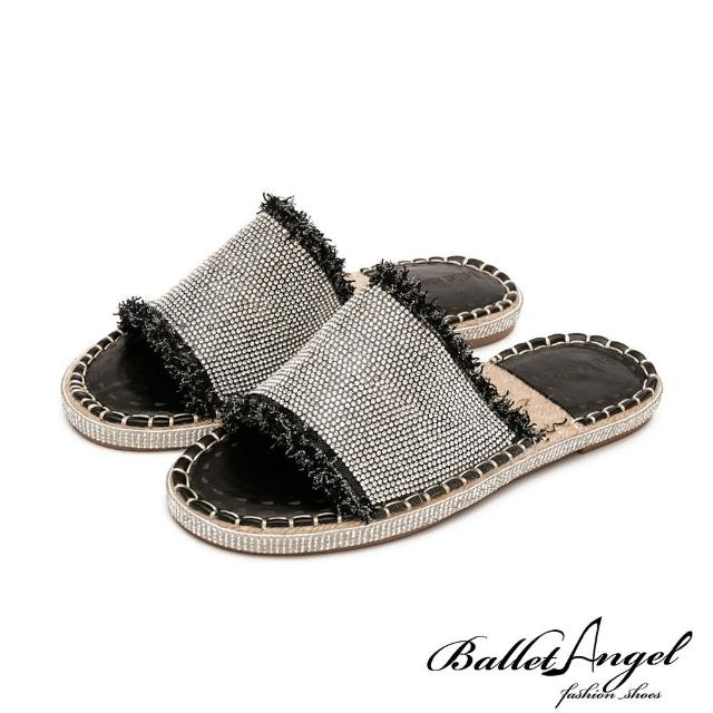 【BalletAngel】閃耀水鑽草編涼拖鞋(黑)