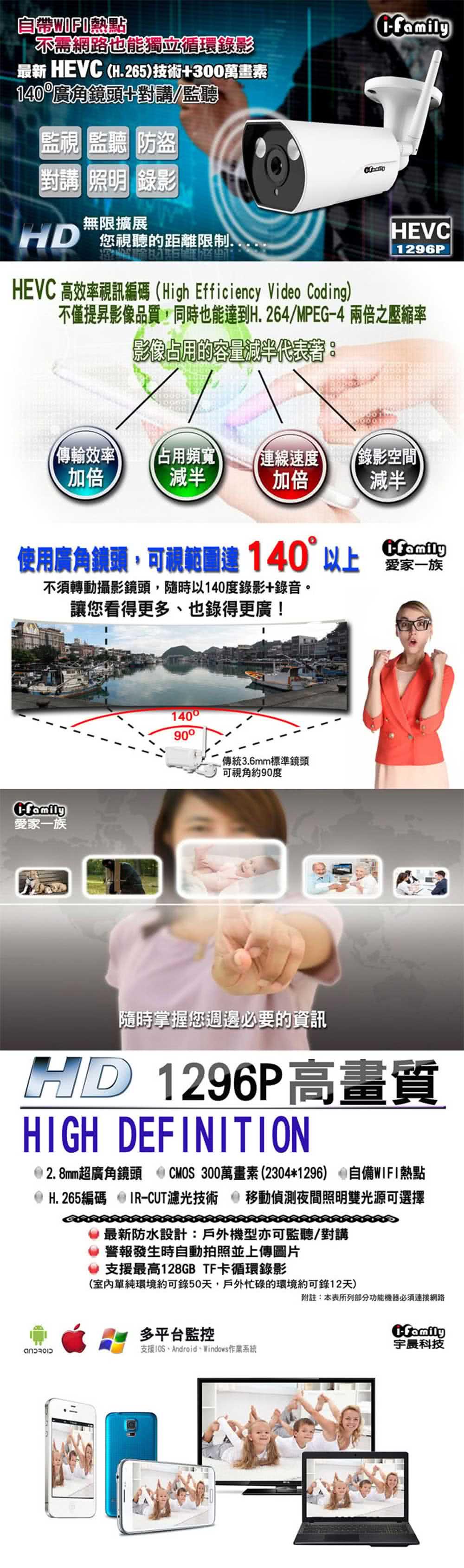 【宇晨I-Family】戶外防水專用/3百萬畫素/熱點/網路監視器(超廣角/自動照明/可監聽對講型)