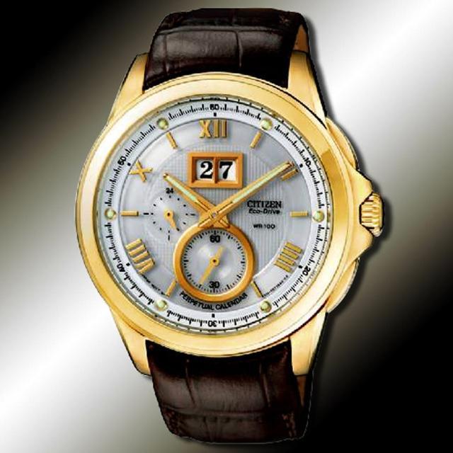 【CITIZEN 光動能系列】萬年曆紳士腕錶-金(BT0006-01A)