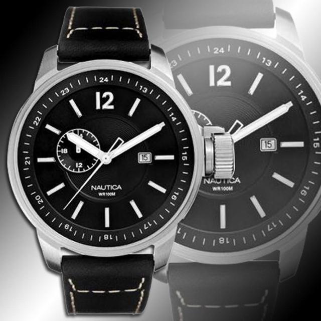 NAUTICA 極簡時尚紳士腕錶-黑(NWA12540)