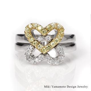 【山本美樹】璀璨雙心 兩用水晶戒指