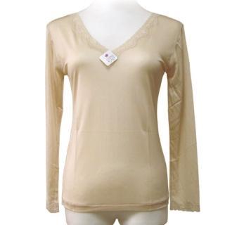 賽凡絲純蠶絲V領蕾絲蠶絲衛生衣-膚色