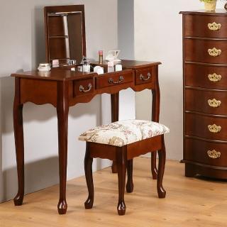 【C&B】英倫風掀鏡化妝書桌椅組(90cm寬 坐椅可收納)