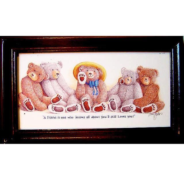【開運陶源】《泰迪熊好朋友》原木鑰匙盒壁飾