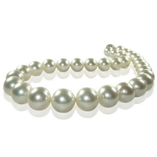 (小樂珠寶)3A正圓漂亮的南洋深海貝珍珠項鍊*經典白色