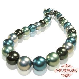 【小樂珠寶】稀有南洋深海貝珍珠項鍊★藍綠七彩