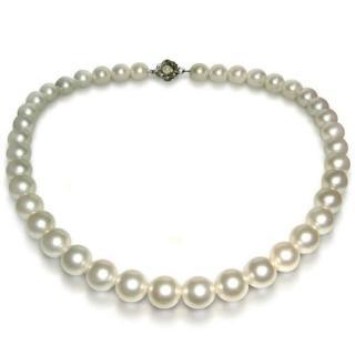(小樂珠寶)3AAA頂級漂亮10-10.5mm天然珍珠項鍊*白色