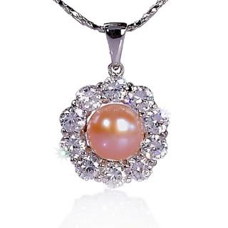 【小樂珠寶】漂亮少有天然珍珠墜子★梅花款