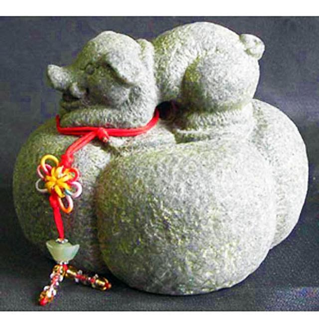 【雕塑藝術大師 羅廣維】開運陶源 《秤心如意》系列(石塑造十二生肖-豬)