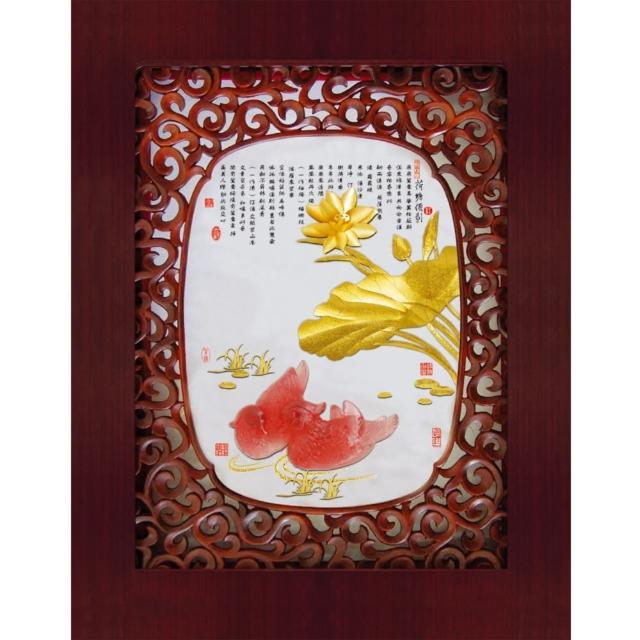 【開運陶源】金箔畫純金水琉璃紫軒系列-等11種款式可選(荷塘儷影)