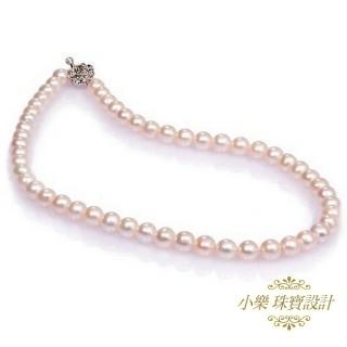 (小樂珠寶)3A頂級7-7.5mm天然珍珠項鍊*好美的皮光 讓人愛不釋手