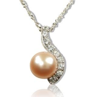 【小樂珠寶】絕美天然珍珠墜子*粉橘色珠閃電款